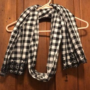 J. Crew Gingam Black and White Scarf